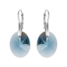 Oorbellen met Swarovski Kristallen Oval Montana Blauw -  Zilver