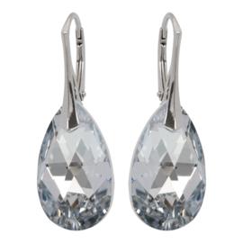 Zilveren Oorbellen met Swarovski Kristal Silver - 22MM