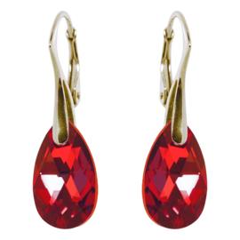 Oorbellen met Swarovski Elements Siam Red - Goudkleurig Zilver - 16MM