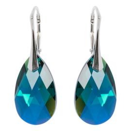 Zilveren Oorbellen met Swarovski Kristal Blue Zircon - 22MM