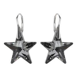 Zilveren  Oorbellen met Swarovski Elements Star Crystal Silver Night