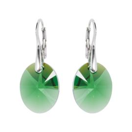 Oorbellen met Swarovski Kristallen Oval Moss Green -  Zilver