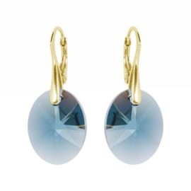 Oorbellen met Swarovski Kristallen Oval Montana Blauw -  Zilver Goudkleurig