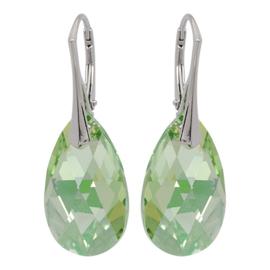 Zilveren Oorbellen met Swarovski Kristal Luminous Green- 22MM