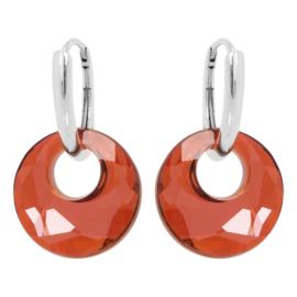 Zilveren Oorbellen met Swarovski Kristal Element Victory Magma Red