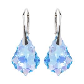 Zilveren  Oorbellen met Swarovski Kristal Barok - Aquamarine AB