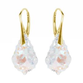Zilveren Goudkleurige Oorbellen met Swarovski Kristal Barok - Crystal Blue AB