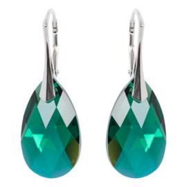 Zilveren Oorbellen met Swarovski Kristal Emerald AB - 22MM