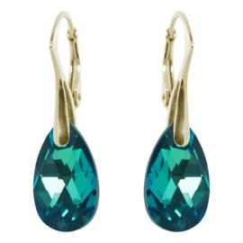 Oorbellen met Swarovski Elements Emerald Groen - Goudkleurig Zilver - 16MM
