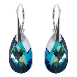 Zilveren Oorbellen met Swarovski Kristal Druppel Bermuda Blauw - 22MM