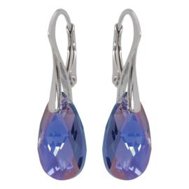 Zilveren Oorbellen met Swarovski Tanzanite Blue AB  - 16MM