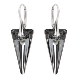 Zilveren Oorbellen met Swarovski Element Kristal Spike Graphite 28MM