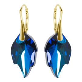 Oorbellen Swarovski Elements Leaf Bermuda Blue - Goudkleurig Zilver