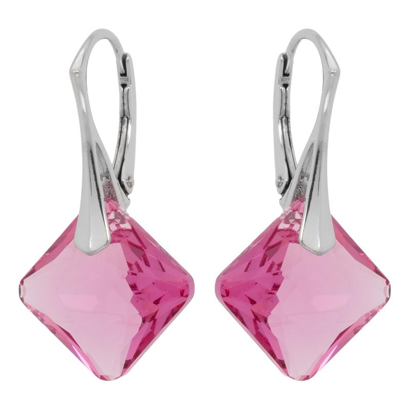 Zilveren Oorbellen met Swarovski Kristal Elements Princess Rose 16MM