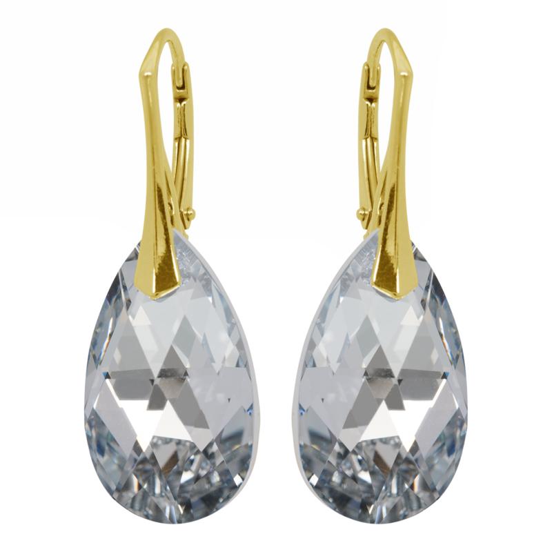 Zilveren  Goudkleurige Oorbellen met Swarovski Kristal Silver - 22MM