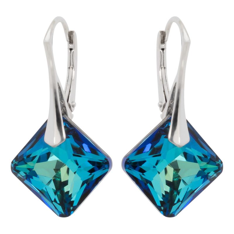 Zilveren Oorbellen met Swarovski Kristal Elements Princess Bermuda Blue 16MM