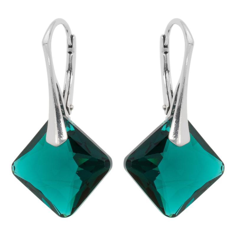 Zilveren Oorbellen met Swarovski Kristal Elements Princess Emerald 16MM