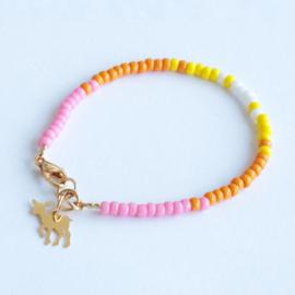 Miyuki Beads armbandje Roze/Geel