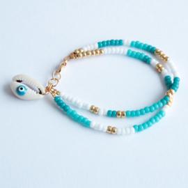 Miyuki Beads Dubbel Blauw/Wit