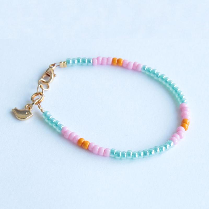 Miyuki Beads armbandje Blauw/Roze