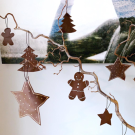 Leren kerst ornament - gingerbread man