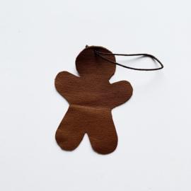 Leren kerst ornament - kleine gingerbread man