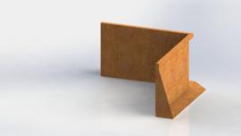 Cortenstaal keerwand binnenhoek 1000x1000mm (hoogte 600mm)