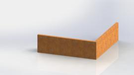 Cortenstaal keerwand buitenhoek 1000x1000mm (hoogte 300mm)
