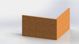 Cortenstaal keerwand buitenhoek 1000x1000mm (hoogte 600mm)