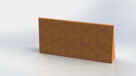 Cortenstaal keerwand recht 1000mm (hoogte 500mm)