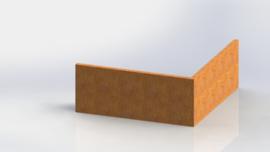 Cortenstaal keerwand buitenhoek 1000x1000mm (hoogte 500mm)