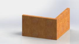 Cortenstaal keerwand buitenhoek 500x500mm (hoogte 300mm)
