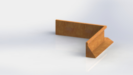 Cortenstaal keerwand binnenhoek 1000x1000mm (hoogte 300mm)