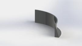 Gepoedercoat staal keerwand binnenbocht 1500x1500mm (hoogte 600mm)