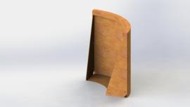 Cortenstaal keerwand buitenbocht 500x500mm (hoogte 600mm)