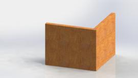 Cortenstaal keerwand buitenhoek 500x500mm (hoogte 400mm)