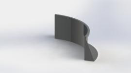 Gepoedercoat staal keerwand binnenbocht 1000x1000mm (hoogte 500mm)