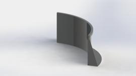 Gepoedercoat staal keerwand binnenbocht 1000x1000mm (hoogte 600mm)