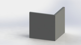 Gepoedercoat staal keerwand buitenhoek 500x500mm (hoogte 500mm)