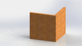 Cortenstaal keerwand buitenhoek 500x500mm (hoogte 500mm)