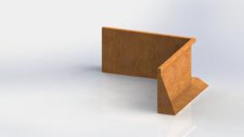 Cortenstaal keerwand binnenhoek 1000x1000mm (hoogte 500mm)
