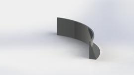 Gepoedercoat staal keerwand binnenbocht 1500x1500mm (hoogte 500mm)