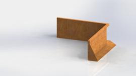 Cortenstaal keerwand binnenhoek 1000x1000mm (hoogte 400mm)