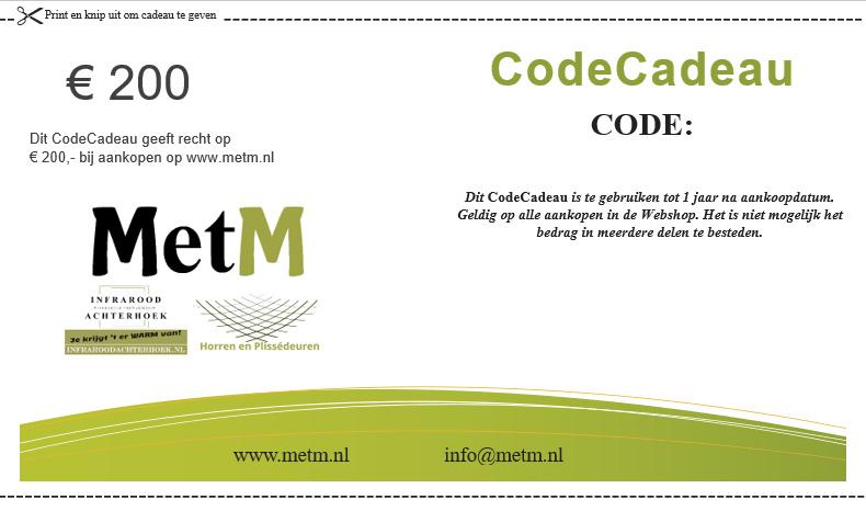 CodeCadeau twv 200 euro