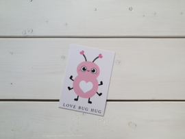 Wenskaart 'Love bug hug' - Live Life Happy