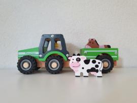 Houten tractor met aanhangwagen