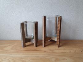 Kaarsenhouder glas met hout