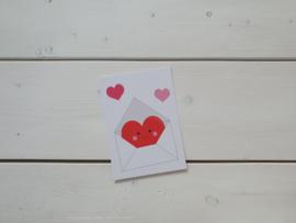 Wenskaart 'Hart envelop' - Live Life Happy