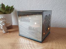 Waxinelichthouder met spiegelglas