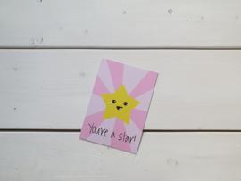 Wenskaart 'Star' - Live Life Happy